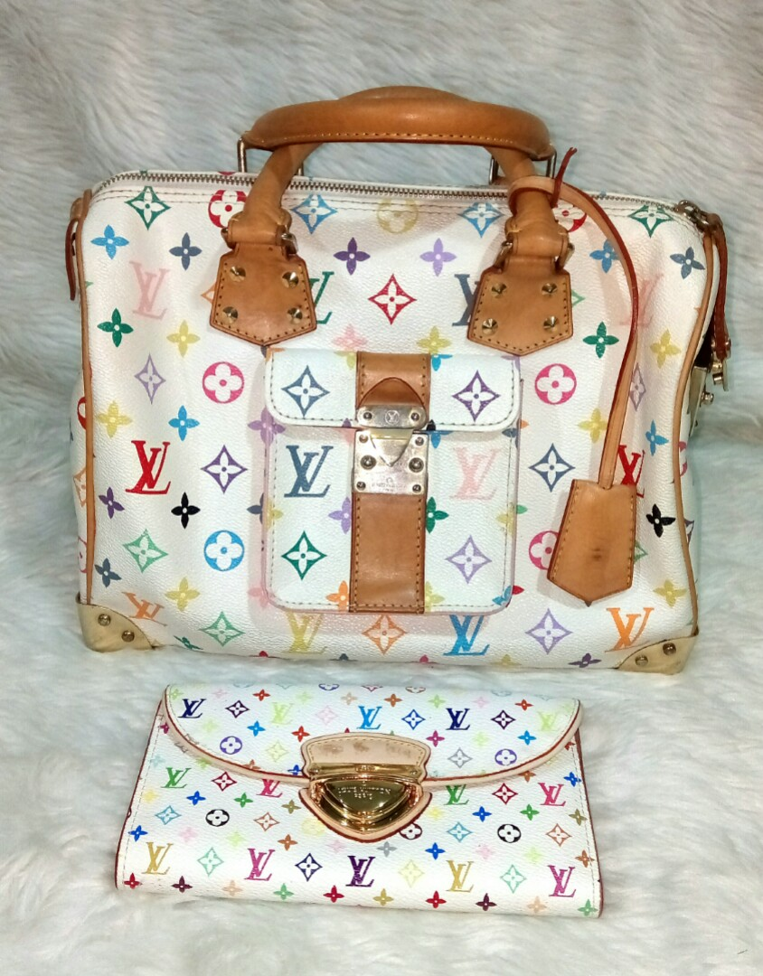 cfb4191f1fa1 LOUIS VUITTON ..YKK Zipper White Multicolor Monogram Speedy30 Dr ...