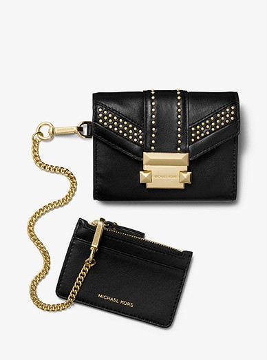 591dea87cdd Michael Kors Whitney Small Studded Leather Chain Wallet, Luxury ...