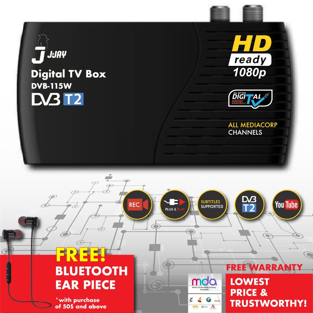 DVB-T2 Mediacorp Digital Receiver TV box. Record shows and wifi enabled., Electronics, Others on Carousell