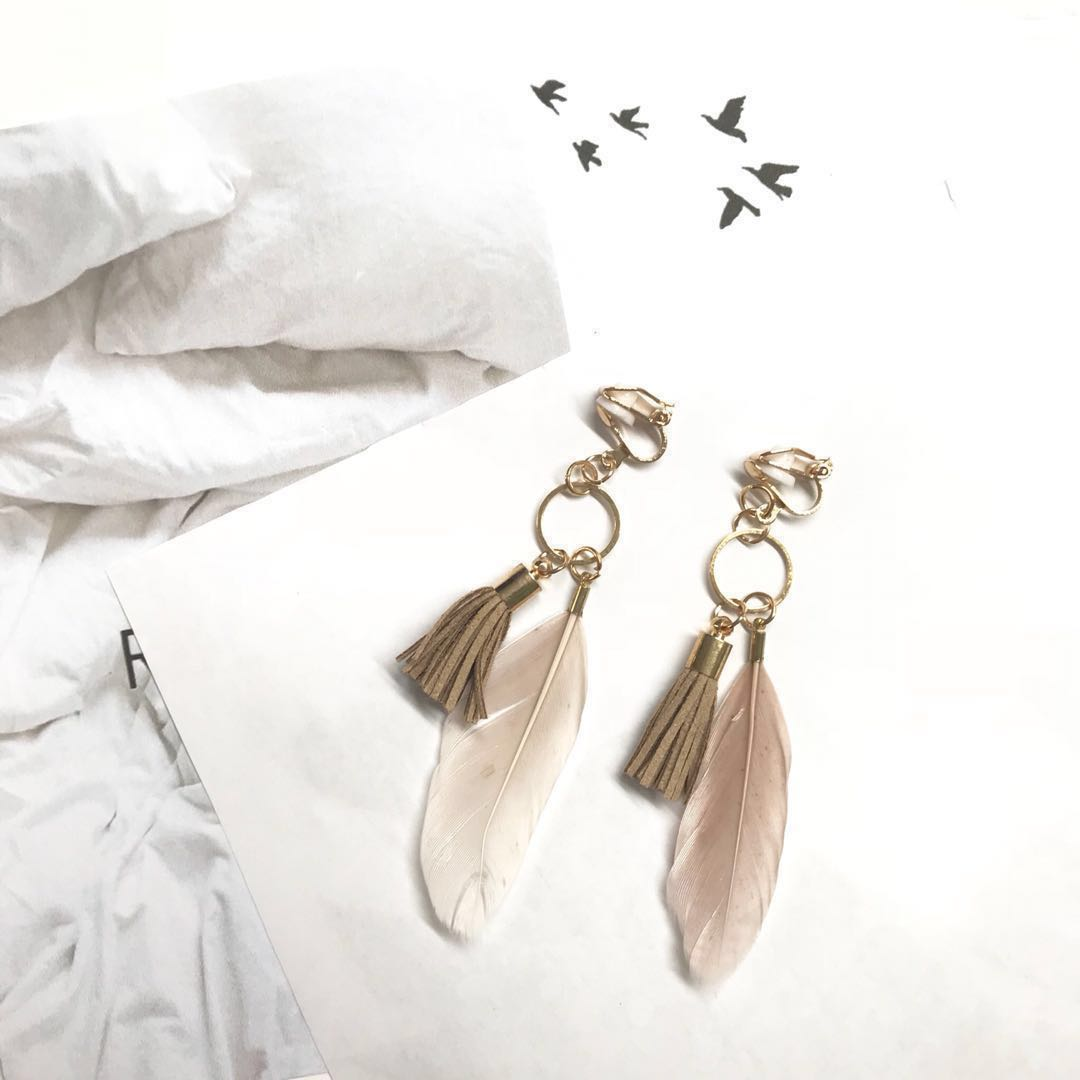 New Clip On Beige Tassel And Feather Earrings Women S Fashion