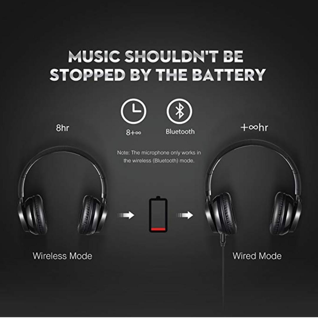 dfb173eecd3 P9 Mpow Thor Bluetooth Headphones On Ear, 40mm Driver Wireless ...