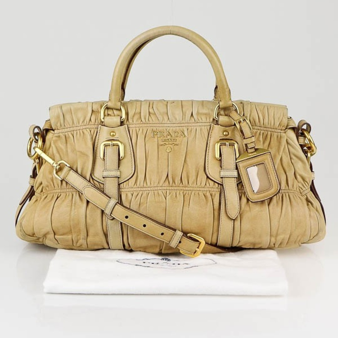 13095be0f94f Prada Beige Nappa Leather Gauffre Ruched Medium Bag (BN1407), Luxury ...