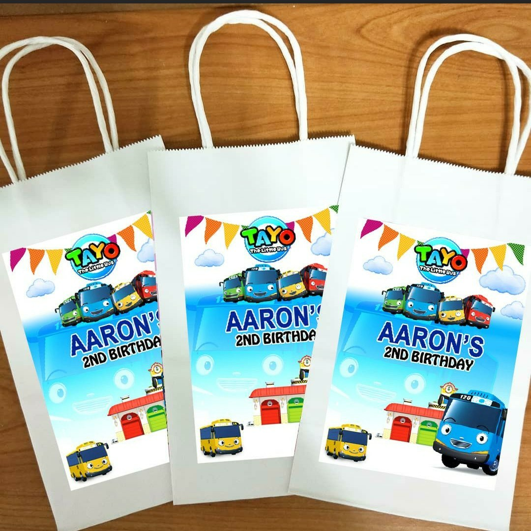 Tayo The Little Bus Paper Gift Bag For Favors Birthday Goodie
