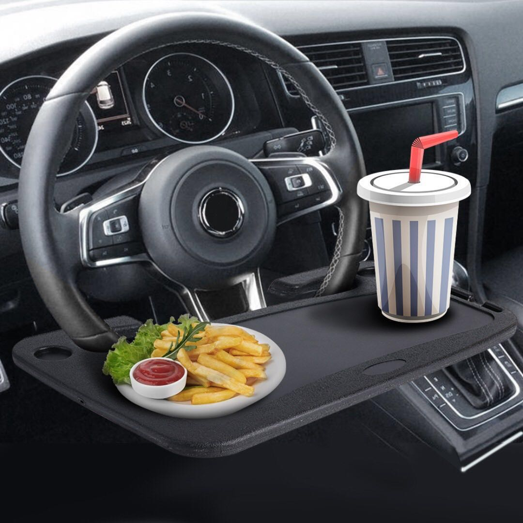 Universal Car Notebook Laptop Desk Stand On Steering Wheel Food And Drinks Holder Dining Table Accessories Carou