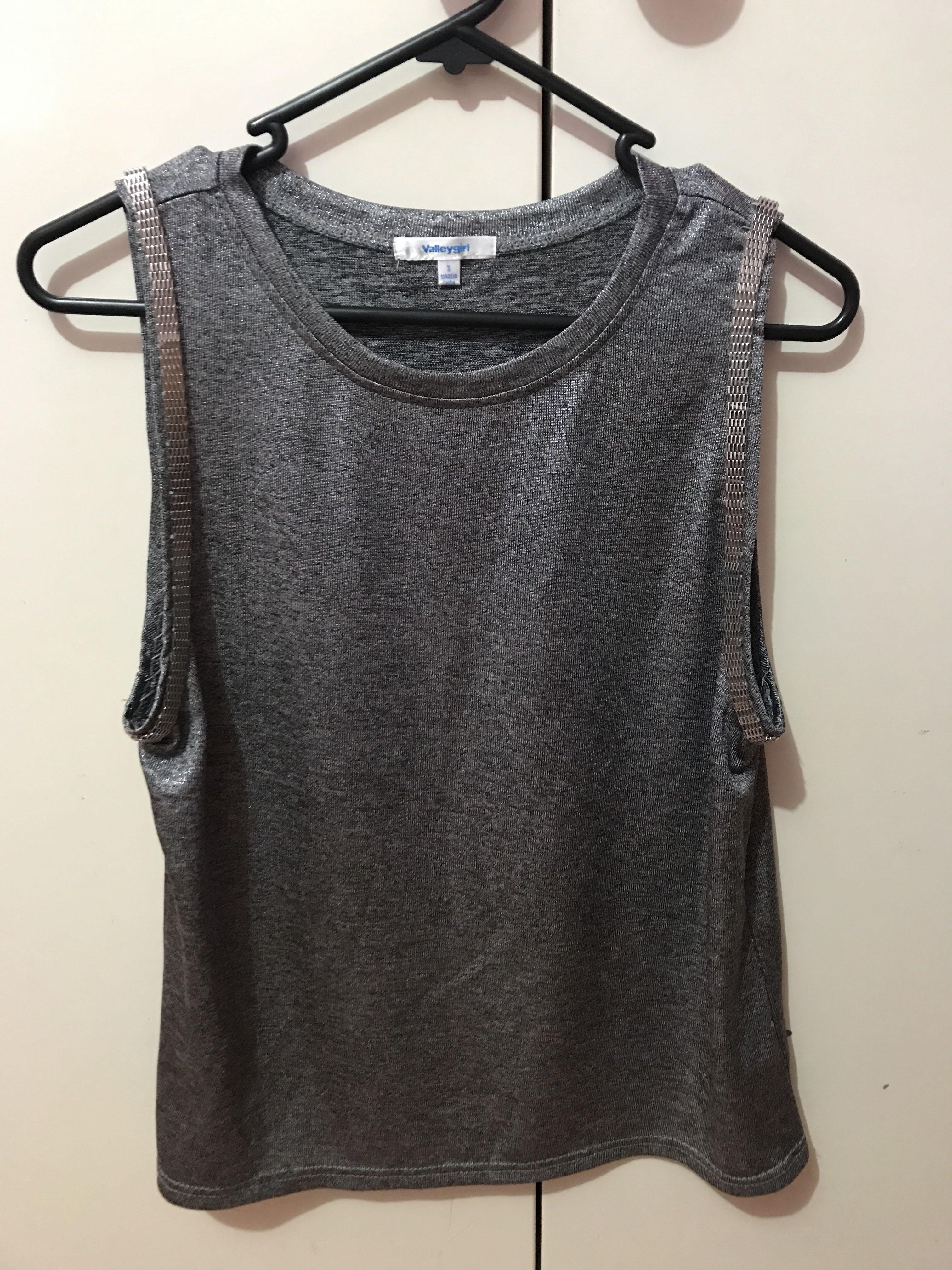Valley girl silver tank top