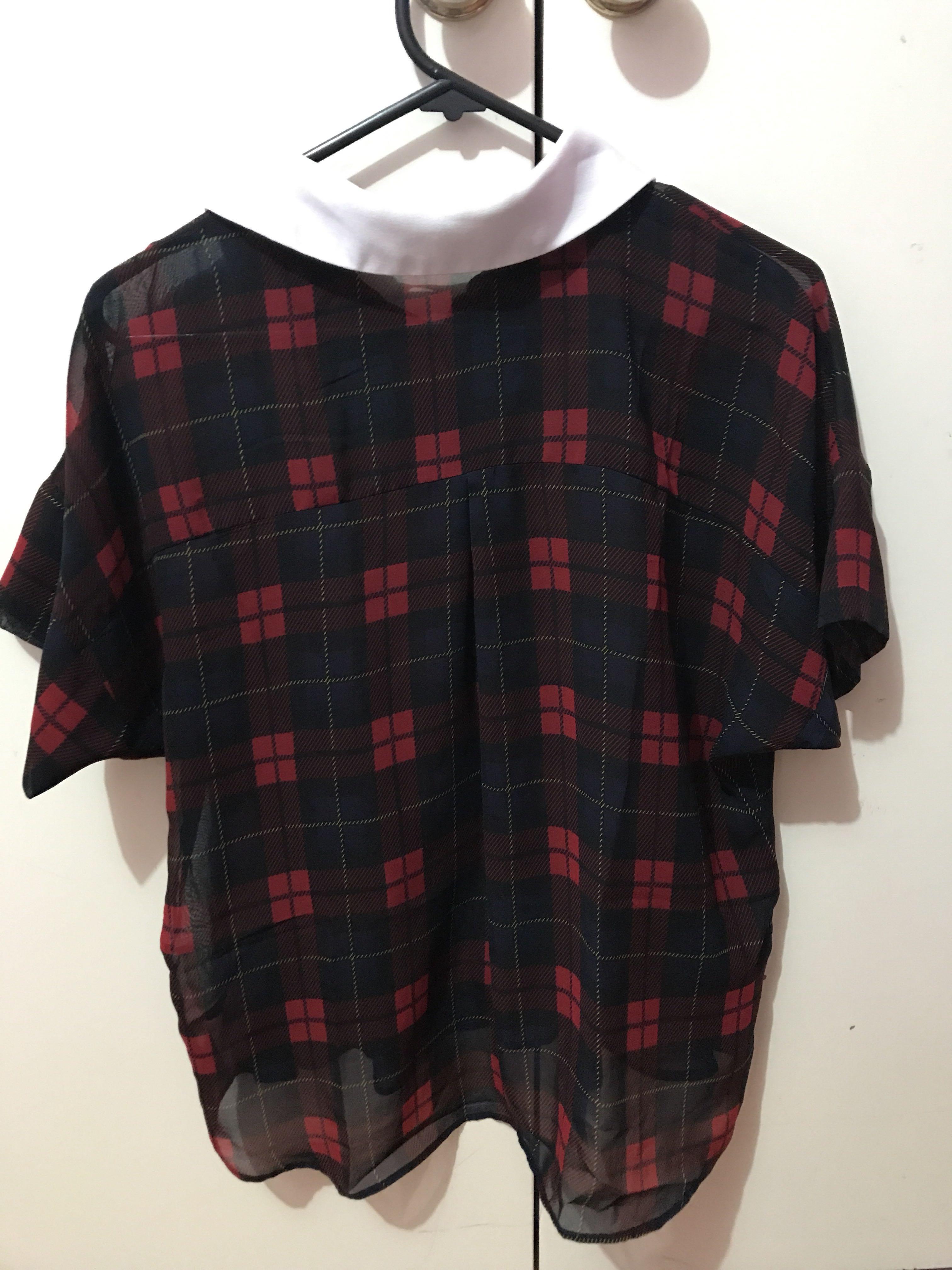 Zara checked sheer blouse
