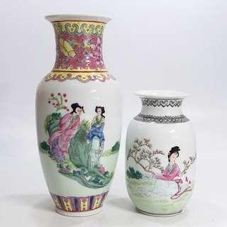 仕女紋花瓶2個(不散賣!不議價!)