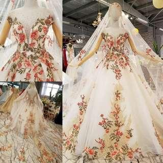 pre order flower cream diamond wedding bridal dress gown  RB0864