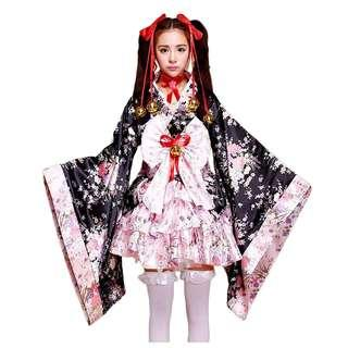 Black & Pink Short Cosplay Kimono