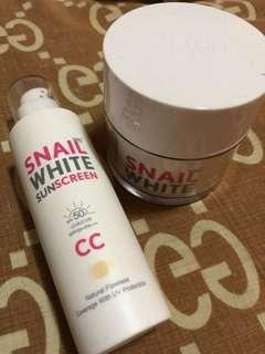 Snail White Moisturizer and CC/Tinted Sunblock bundle