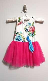 PL white floral flower pink tutu dress sleeveless size 1