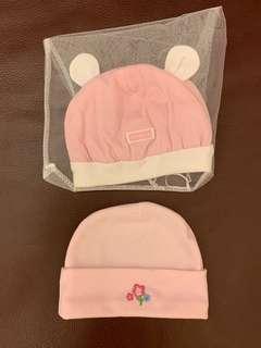 🚚 粉紅色 帽子 新生兒 兩頂