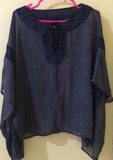 Mango Dark Blue Boho Top - FREE SF in Metro Manila! :)