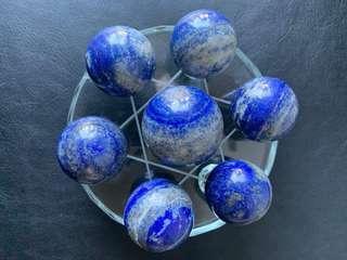 🌎天然青金石七星陣🌎連七星陣玻璃盤