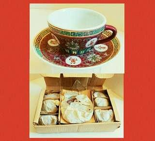 罕有舊日盒裝:景德鎮萬壽無疆(杯碟6套一盒) #歲月收藏品#