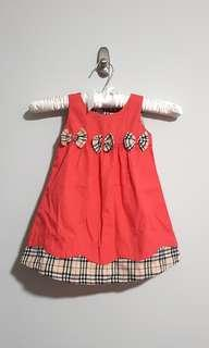 PL Burberry inspired plaid checkers bow dress peach salmon sleeveless size 1