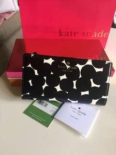 Kate Spade黑白印花長夾 全新全配附盒袋 非outlet