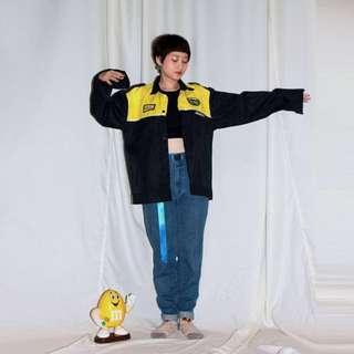 DUCKHAMS ✼藍黑工裝襯衫✼ 拼接黃色 刺繡 隱藏門襟 中性男款 工作長袖罩衫 日本古着Vintage