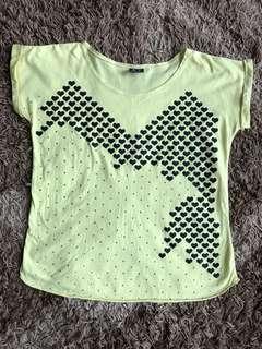 Yellow Heart Short Sleeve T-shirt
