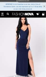 Fashion Nova Navy Blue Dress Slit