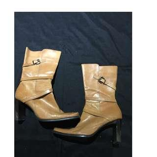 "Nine West Tan Leather Boots - Size 9 - 2"" heels"