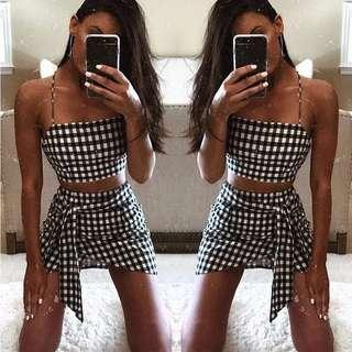 Chic Plaid 2 Pcs Outfit Spaghetti Top and Skirt