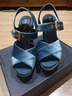 Zalora pump heel blue shoes sandal