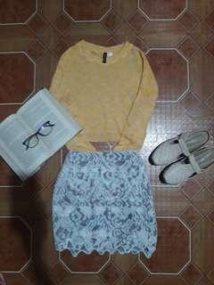 Bundle!Crop sweater & white lace skirt