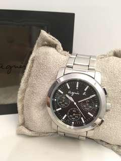 🚚 法國名牌 agnés b. 金屬錶帶 三眼手錶