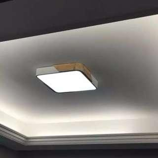Macaron Wood LED Ceiling Light Square Nordic