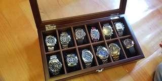 全新靚柚木12格錶盒