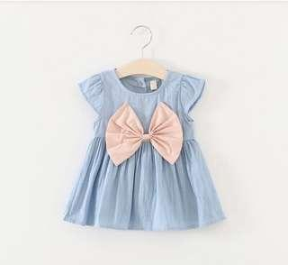 🚚 BN Baby Girl Pink Ribbon Bow Chambray Denim Dress 12m & 18mths available!