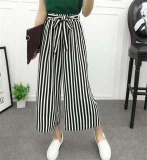 strips wide leg pants