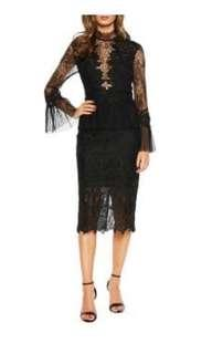 Bardot black lace dress