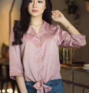dusty pink top shirt