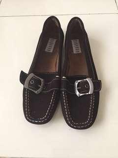 Black Step-In Flat Shoes