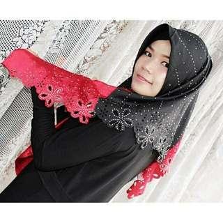Jilbab segiempat 2 warna tabur mutiara by lestari