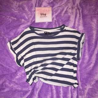 cotton on t-shirt stripped crop tee