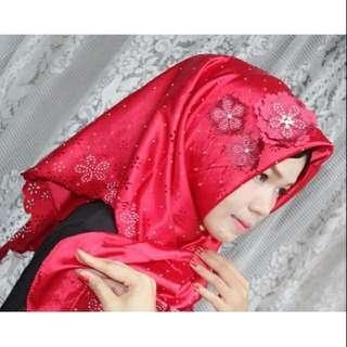 Jilbab segiempat bunga tempel by lestari