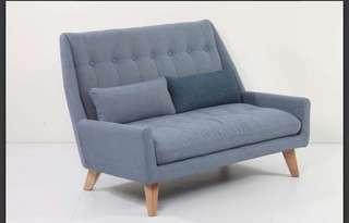 2 seater fabric sofa blue colour