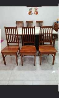 Good condition quality hard wood wooden chair x 7