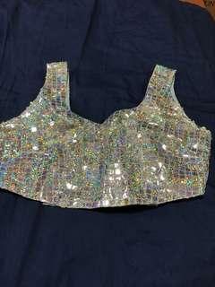 Shiny Silver Saree blouse/ Crop Top