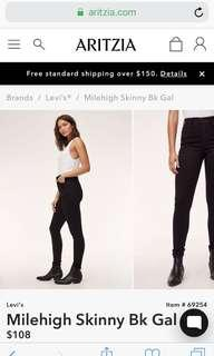 Aritzia Levi Black Skinny Jean