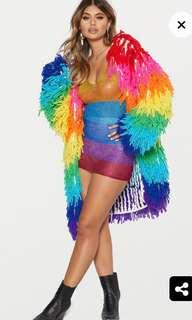 Multicolour Knit Shaggy Cardigan
