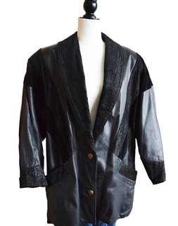 V-stripe vintage leather jacket