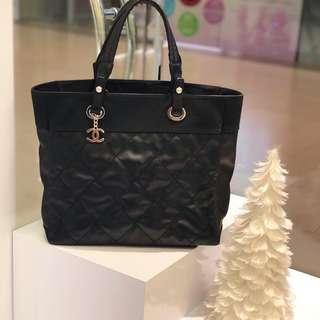🖤🖤Superb Deal!🖤🖤 Full Set Chanel Biarritz Tote in Black Canvas SHW