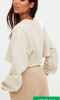 PLT Sand Ultimate Cropped Sweater (S)