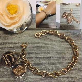 Authentic Italy Gold 10K Saudi Gold Tiffany & Co. Charms Bracelet Bangle Rose Gold Chain Bracelet Stainless Steel Bangkok Adjustable Bracelet Italy Jewelries Women's Collection