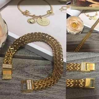 Authentic Italy Gold 10K Saudi Gold Snake Chain Bracelet Bangle Gold Chain Bracelet Stainless Steel Bangkok Adjustable Bracelet Italy Jewelries Women's Collection