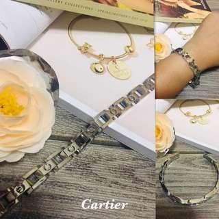 2ec3291d4 Authentic Italy Gold 10K Saudi Gold Cartier Flat White Gold Bracelet Bangle  Stainless Steel Bangkok Gold